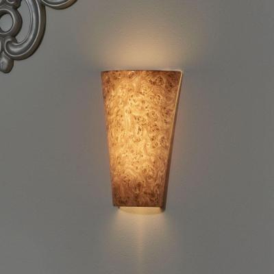 Vivid Series Wall Mounted Indoor/Outdoor Burl Wood Style Battery Operated 5 LED Wall Lantern Sconce