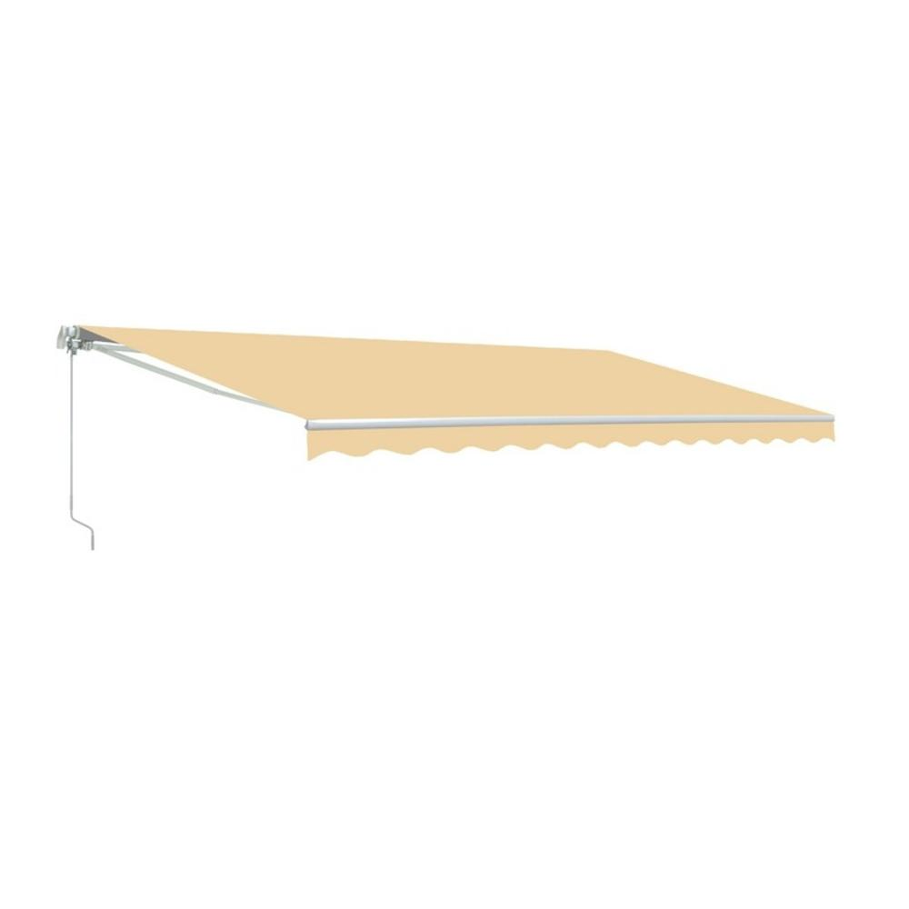 Aleko 8 Ft X 6 5 Ft Retractable Patio Awning Ivory Aw8x6 5ivory29 Hd The Home Depot