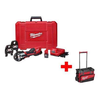 M12 12-Volt Lithium-Ion Cordless Force Logic Press Tool Kit (3-Jaws Included) with Free 24 in. Hardtop Rolling Bag
