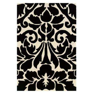 Trio Collection Black and White 8 ft. x 10 ft. Indoor Area Rug