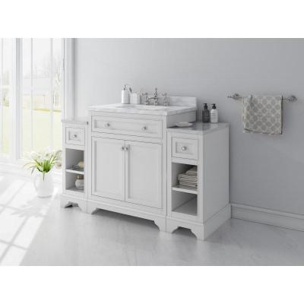 Mornington 54 in. W x 21 in. D Single Bath Vanity in White with Marble Vanity Top in White with White Sink