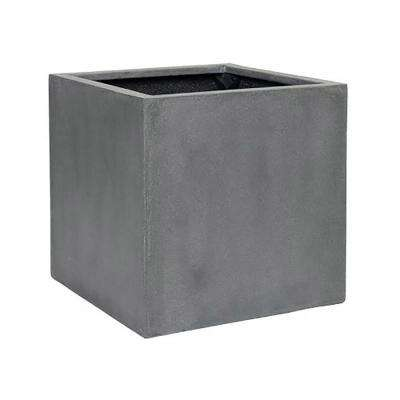 24 in. x 24 in. Matte Grey Fiberstone Square Cube Planter