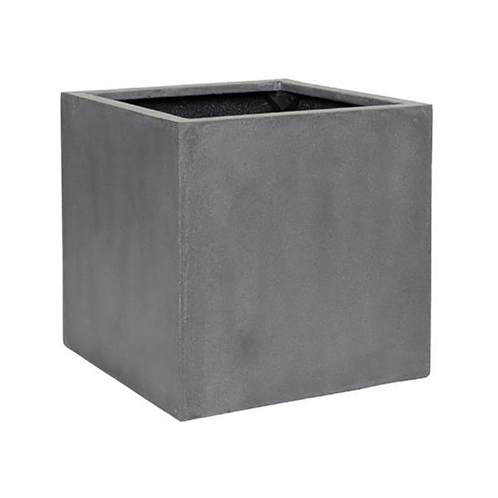 24 in. x 24 in. Matte Grey Fiberstone Square Cube Planter