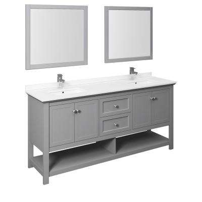 Manchester 72 in. W Bathroom Double Bowl Vanity in Gray with Quartz Stone Vanity Top in White with White Basins, Mirrors
