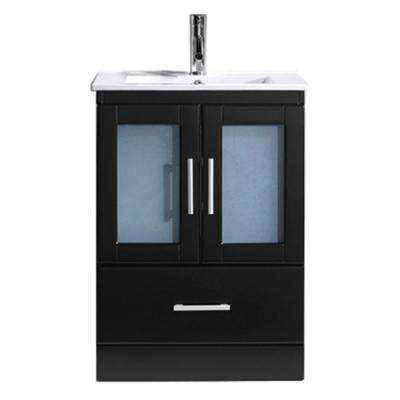 Zola 24 in. W Bath Vanity in Espresso with Ceramic Vanity Top in Slim White Ceramic with Square Basin and Faucet