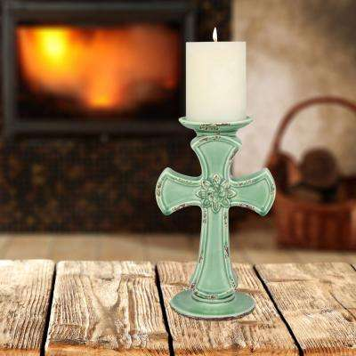 10 in. Aqua Ceramic Cross Pillar Candle Holder