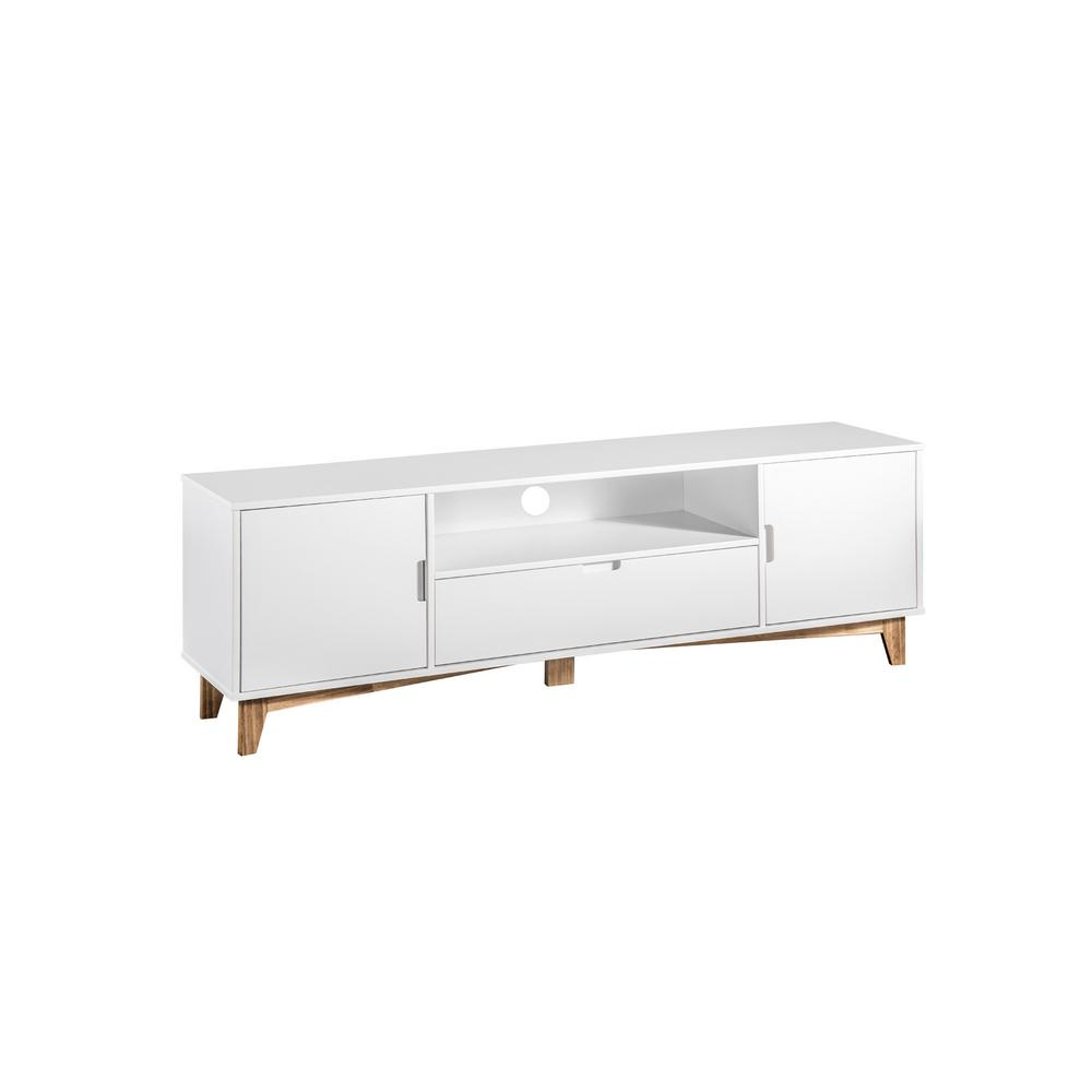 Glenmore 62.99 in. White and Natural Wood TV Stand
