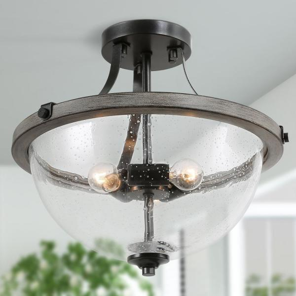 Morice 3-Light Semi Flush Mount Weathered Iron Semi Flush Mount with Painted Grey Wood Accents and Seeded Glass Shade