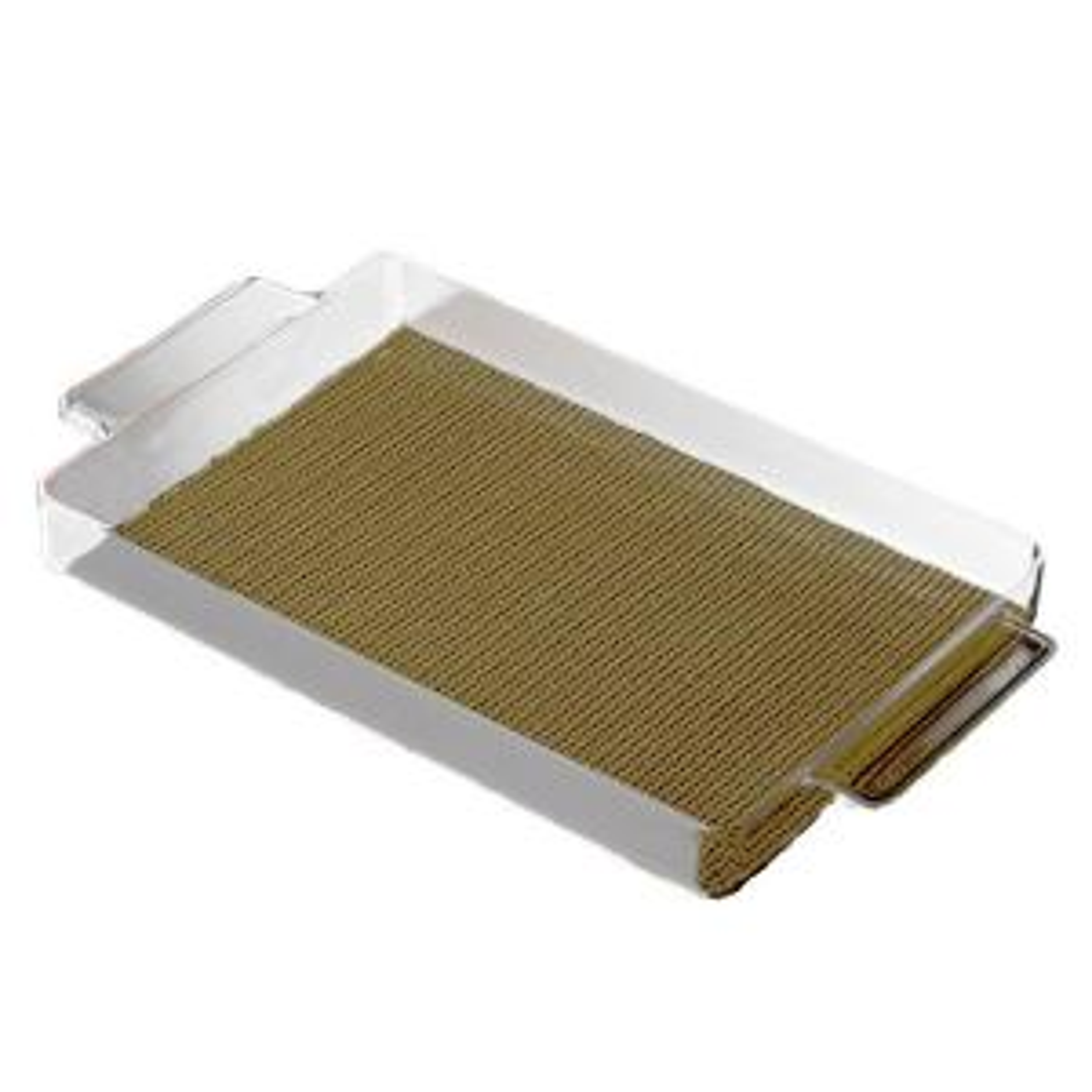 Kraftware Fishnet Rectangular Serving Tray in Moss by Kraftware