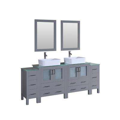 Bosconi 84 in. Double Vanity in Gray with Vanity Top in Green with White Basin and Mirror