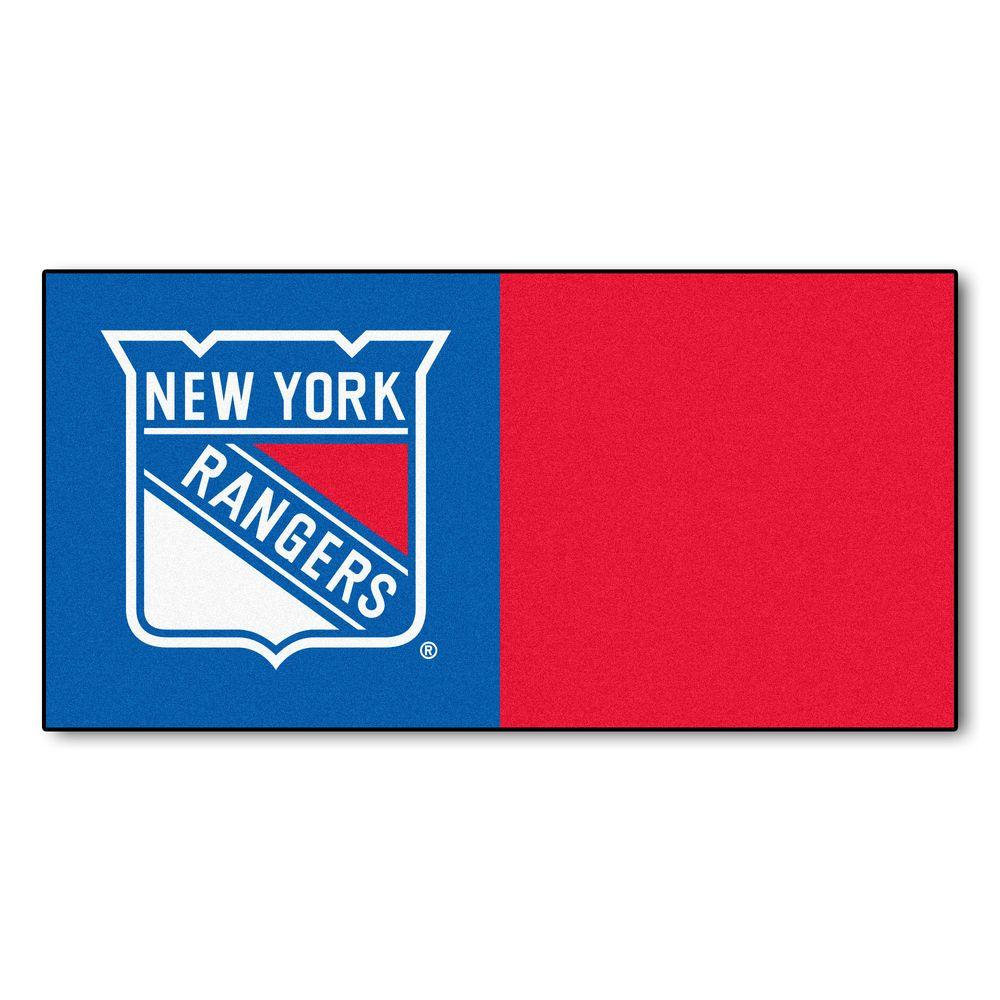 FANMATS NHL - New York Rangers Blue and Red Pattern 18 in. x 18 in. Carpet Tile (20 Tiles/Case)