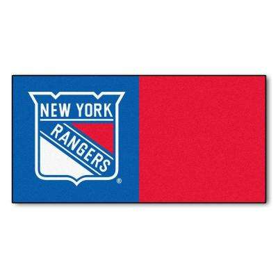 NHL - New York Rangers Blue and Red Pattern 18 in. x 18 in. Carpet Tile (20 Tiles/Case)