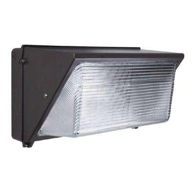 60-Watt Charcoal Black Integrated LED Wall Pack Light 5500K with Photocell