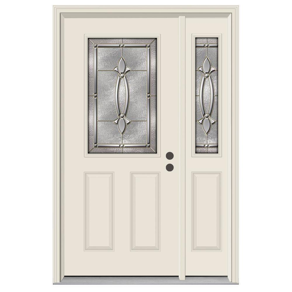 Jeld Wen 50 In X 80 1 2 Lite Blakely Primed Steel Prehung Left Hand Inswing Front Door With Right Sidelite