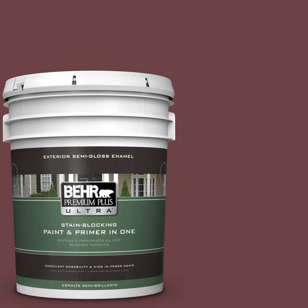 BEHR Premium Plus Ultra 5-gal. #BIC-50 Deep Claret Semi-Gloss Enamel Exterior Paint