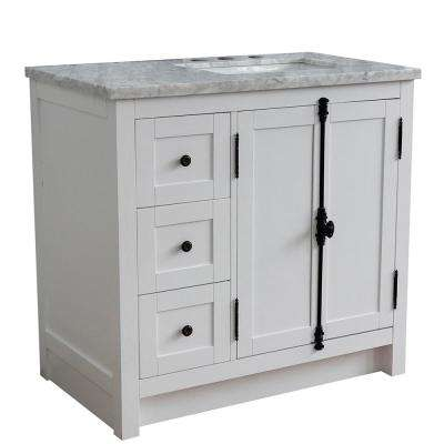 37 in. W x 22 in. D x 36 in. H Bath Vanity in Glacier Ash with White Marble Vanity Top and Right Side Rectangular Sink
