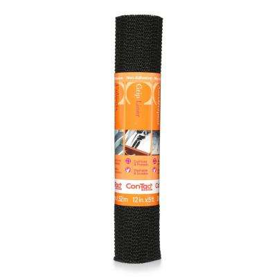 Grip Liner 12 in. x 5 ft. Black Non-Adhesive Grip Drawer and Shelf Liner (6-Rolls)