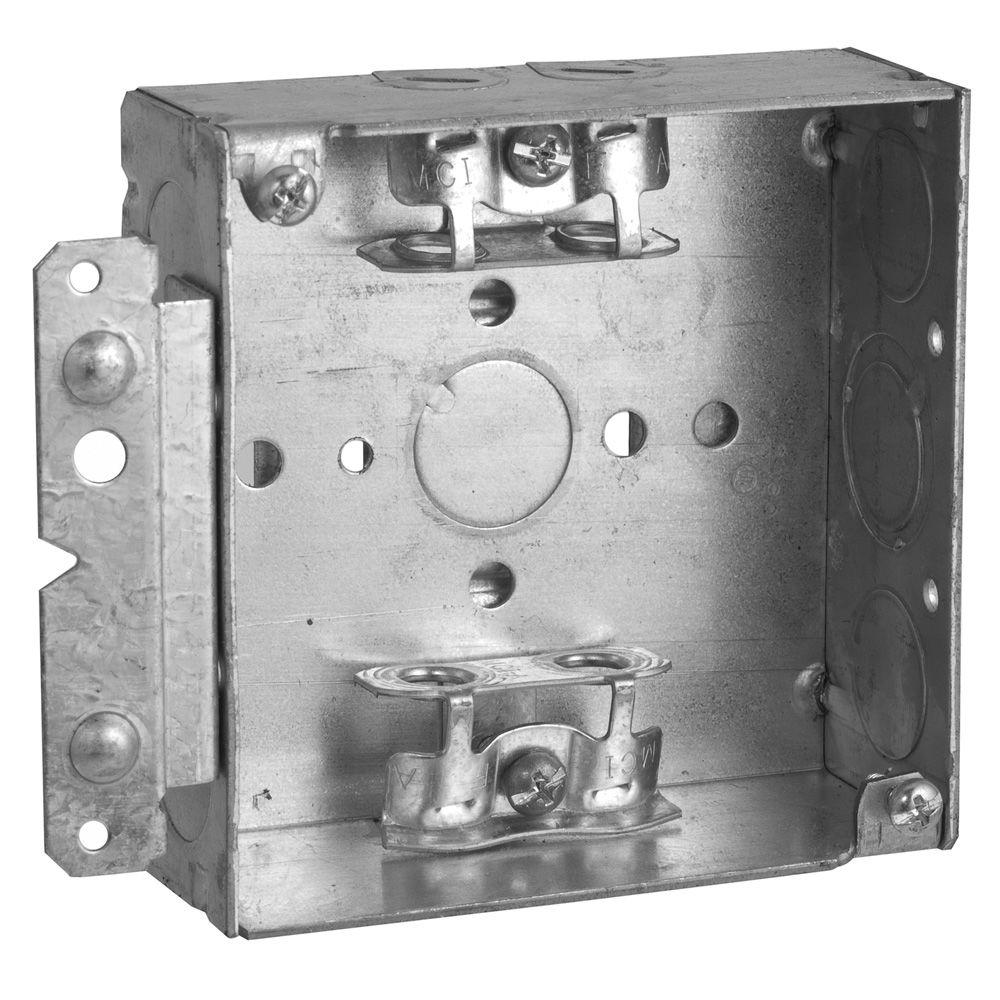 4 in. Square Welded Box 1-1/2 in. Deep with BX Clamps