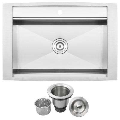 Bradford Drop-In 16-Gauge Stainless Steel 33 in. 1-Hole Single Basin Kitchen Sink with Basket Strainer
