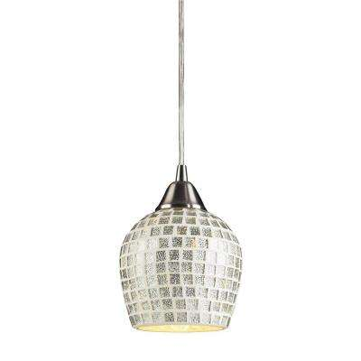 Fusion 1-Light Satin Nickel Pendant with Silver Mosaic Glass