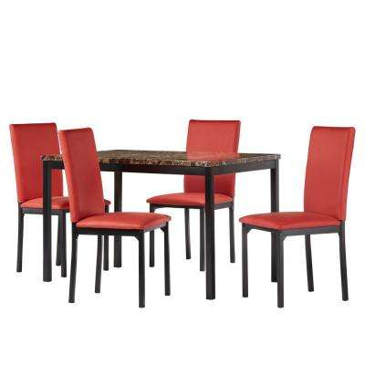 Bedford 5-Piece Red Dining Set