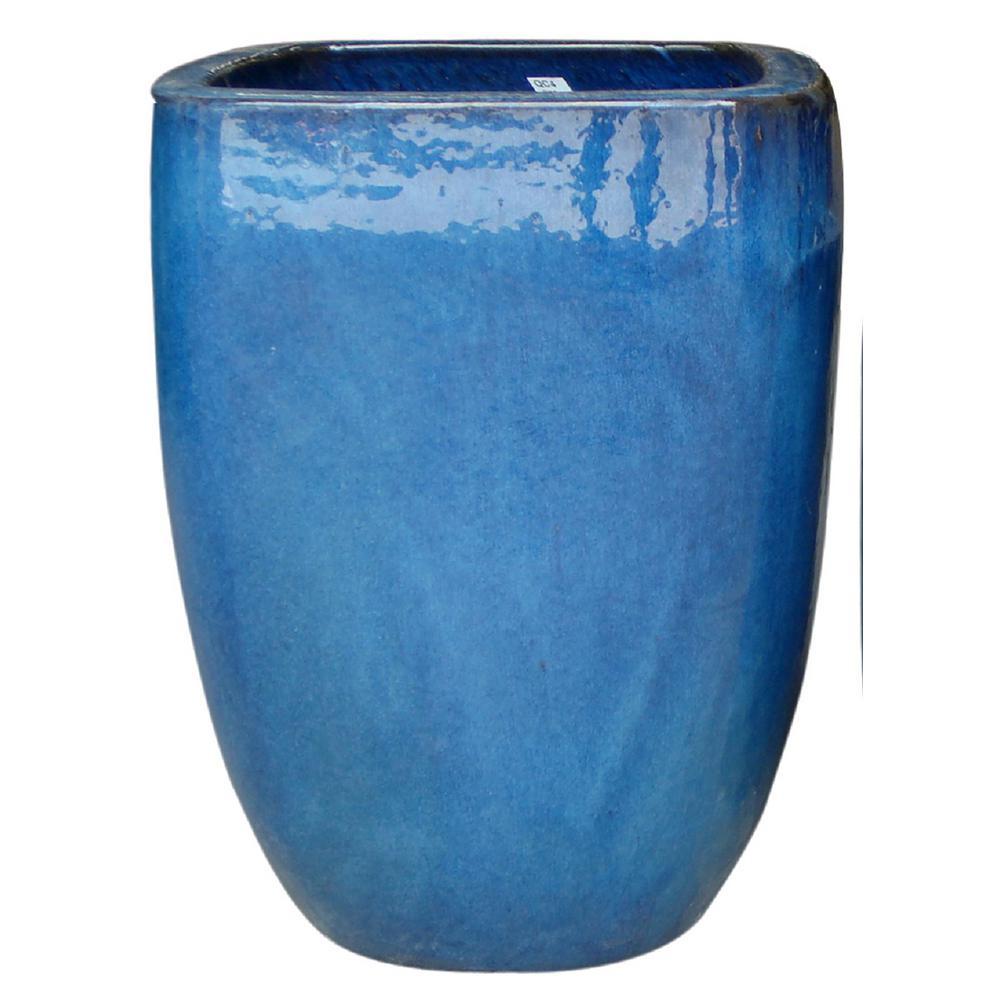 12 In Dia Thorn Blue Ceramic Quadrato Pot Cr20078 12m