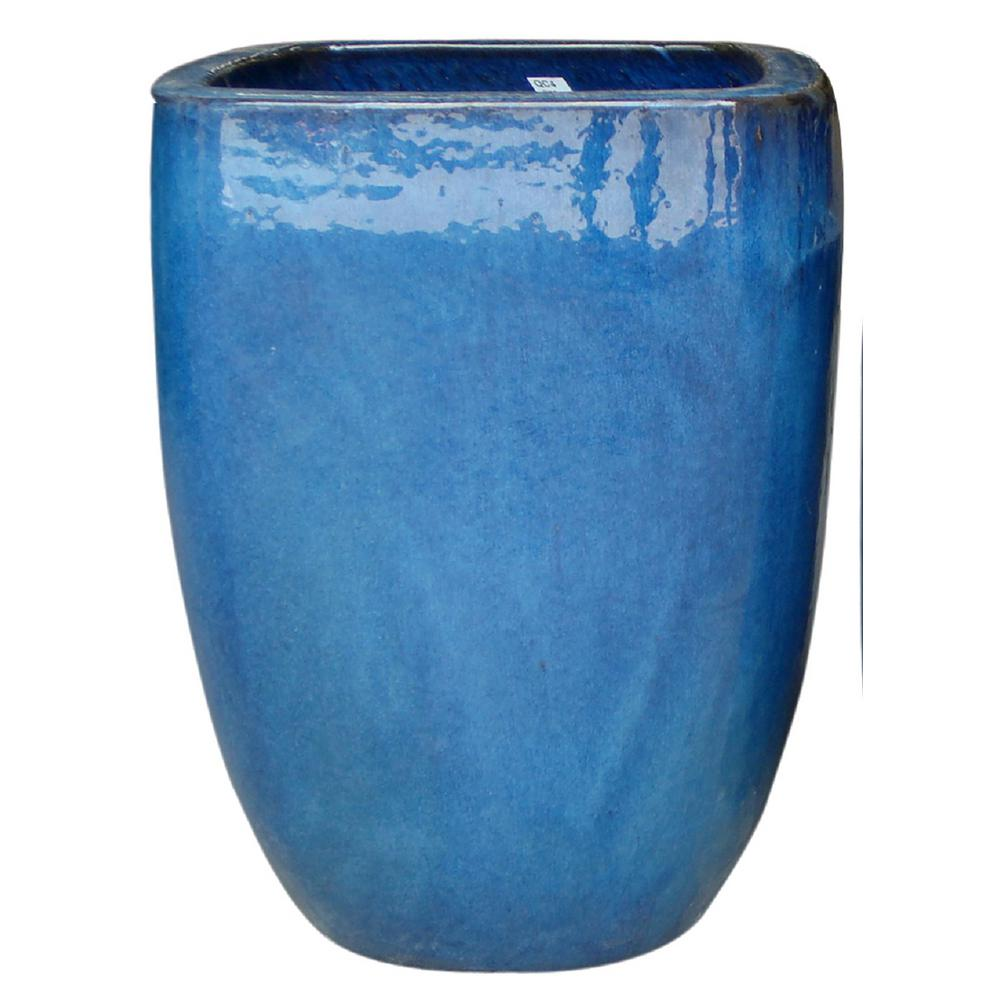 12 in. Dia Thorn Blue Ceramic Quadrato Pot