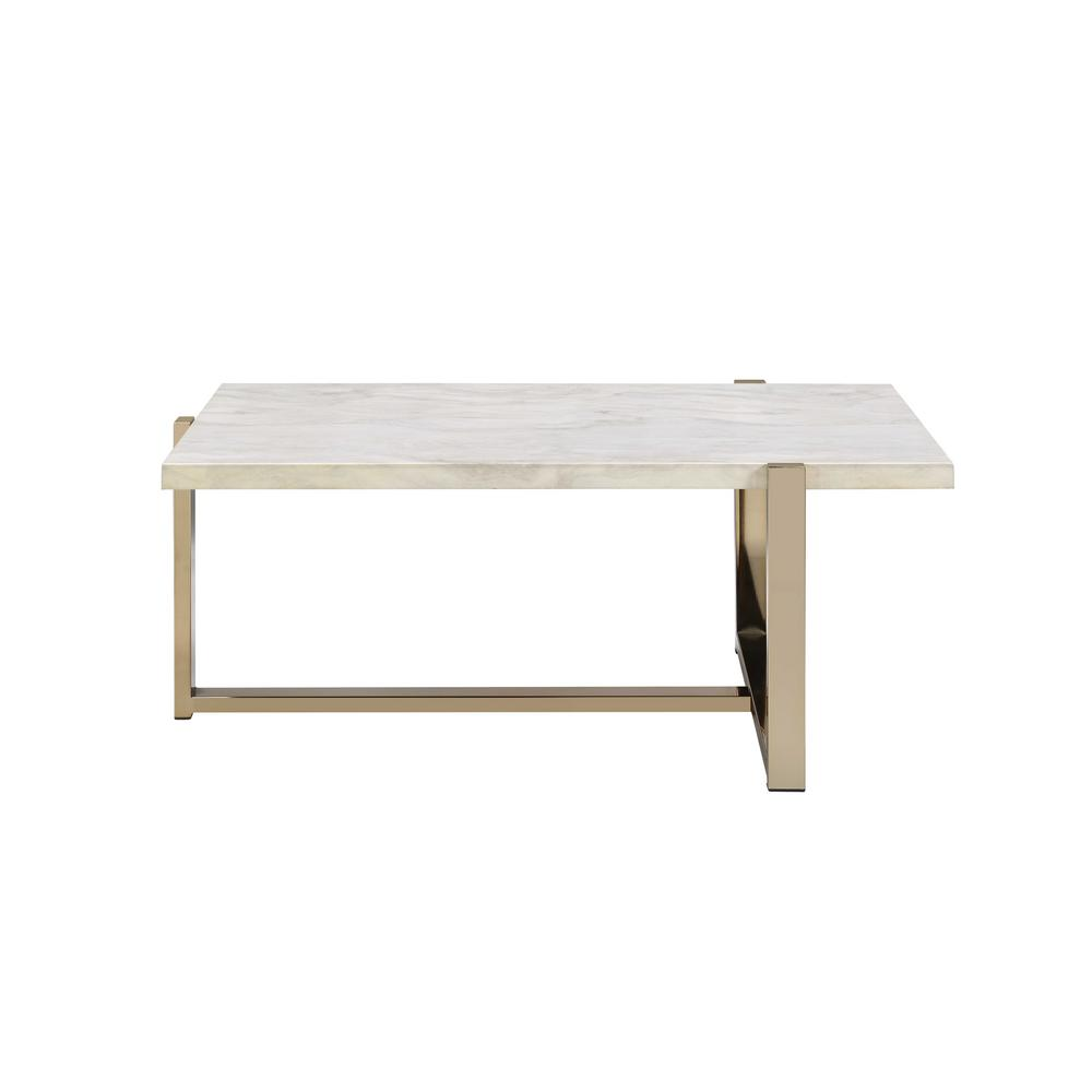 Feit Chrome and White Coffee Table