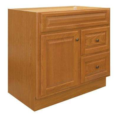 Hampton 36 in. W x 21 in. D x 33.5 in. H Bathroom Vanity Cabinet Only in Oak