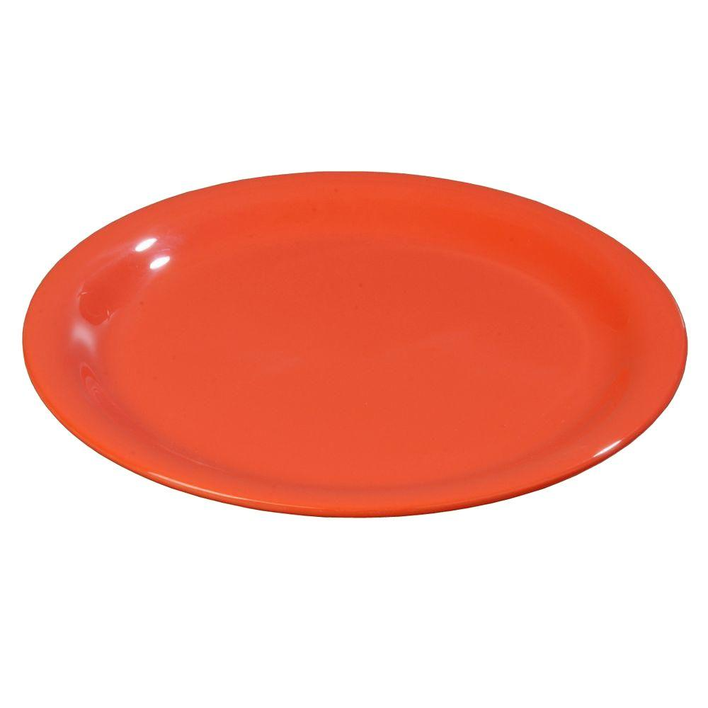 6.56 in. Diameter Melamine Narrow Rim Pie Plate in Sunset Orange