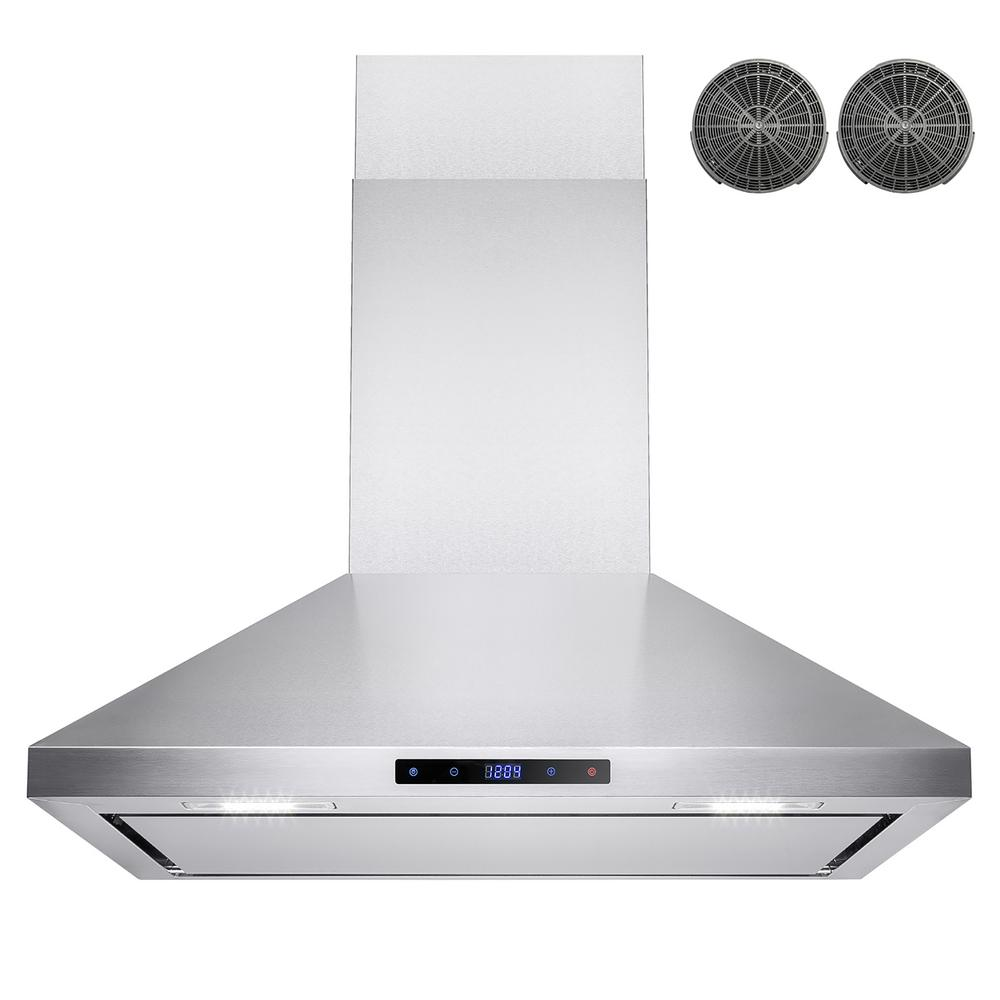 AKDY 30 in. Convertible Kitchen Wall Mount Range Hood in Stainless ...