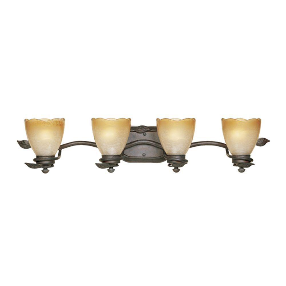 Belle Rose Collection 4-Light Old Bronze Wall Mount Vanity Light