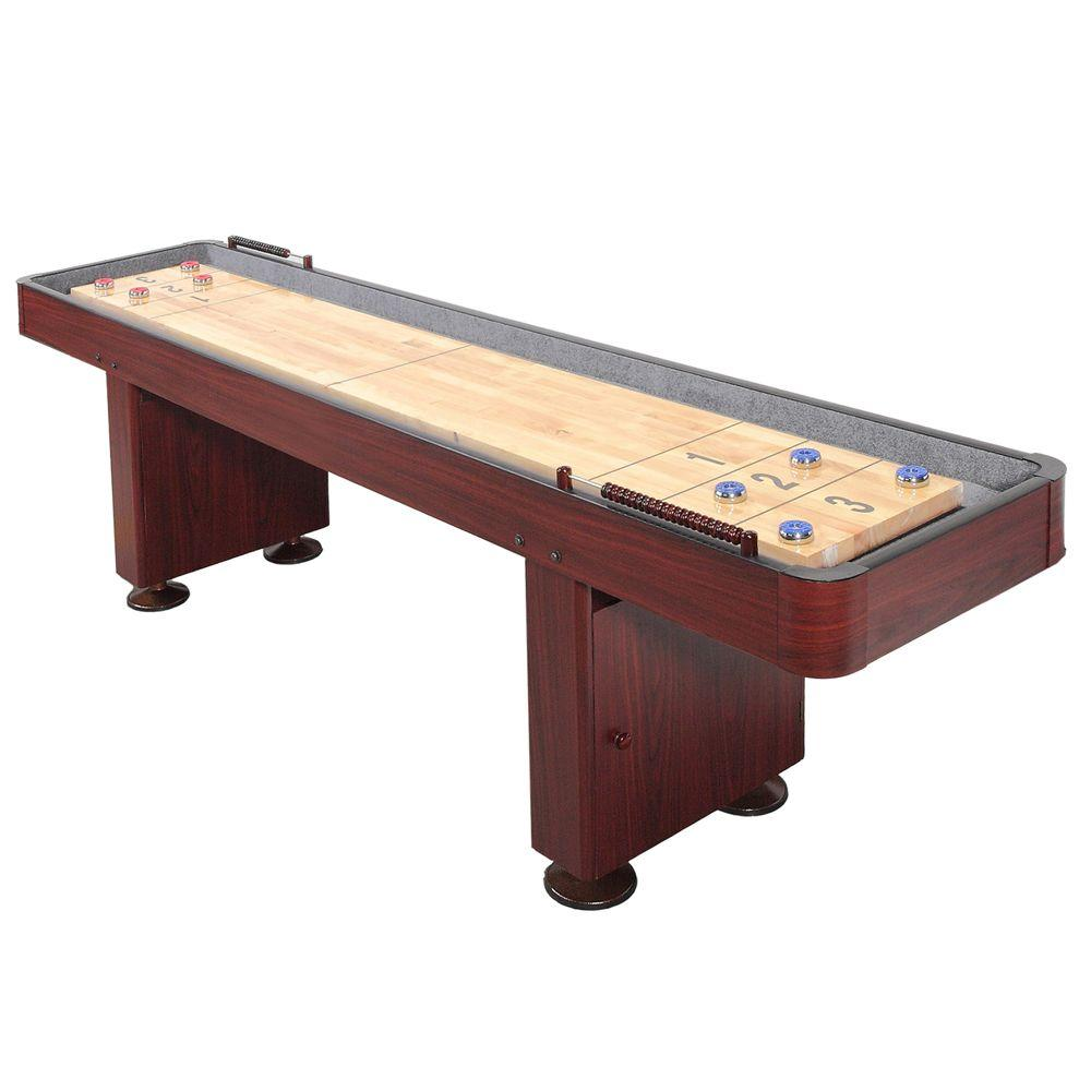 Challenger 12 ft. Shuffleboard Table w/ Storage Cabinets, Climate Adjusters, Leg Levelers, 8 Pucks, Brush and Wax