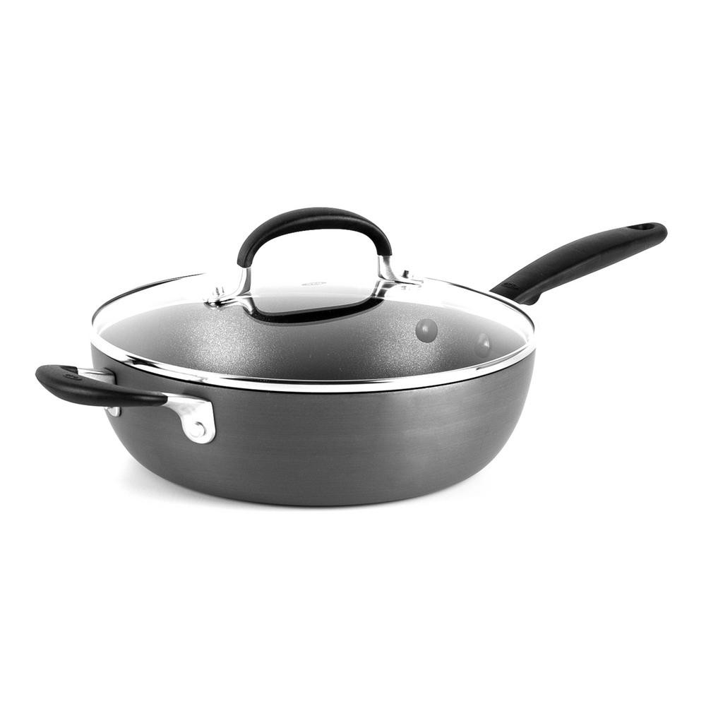 Good Grips 9.5 in. Hard-Anodized Aluminum Nonstick Skillet in Gray with Glass Lid