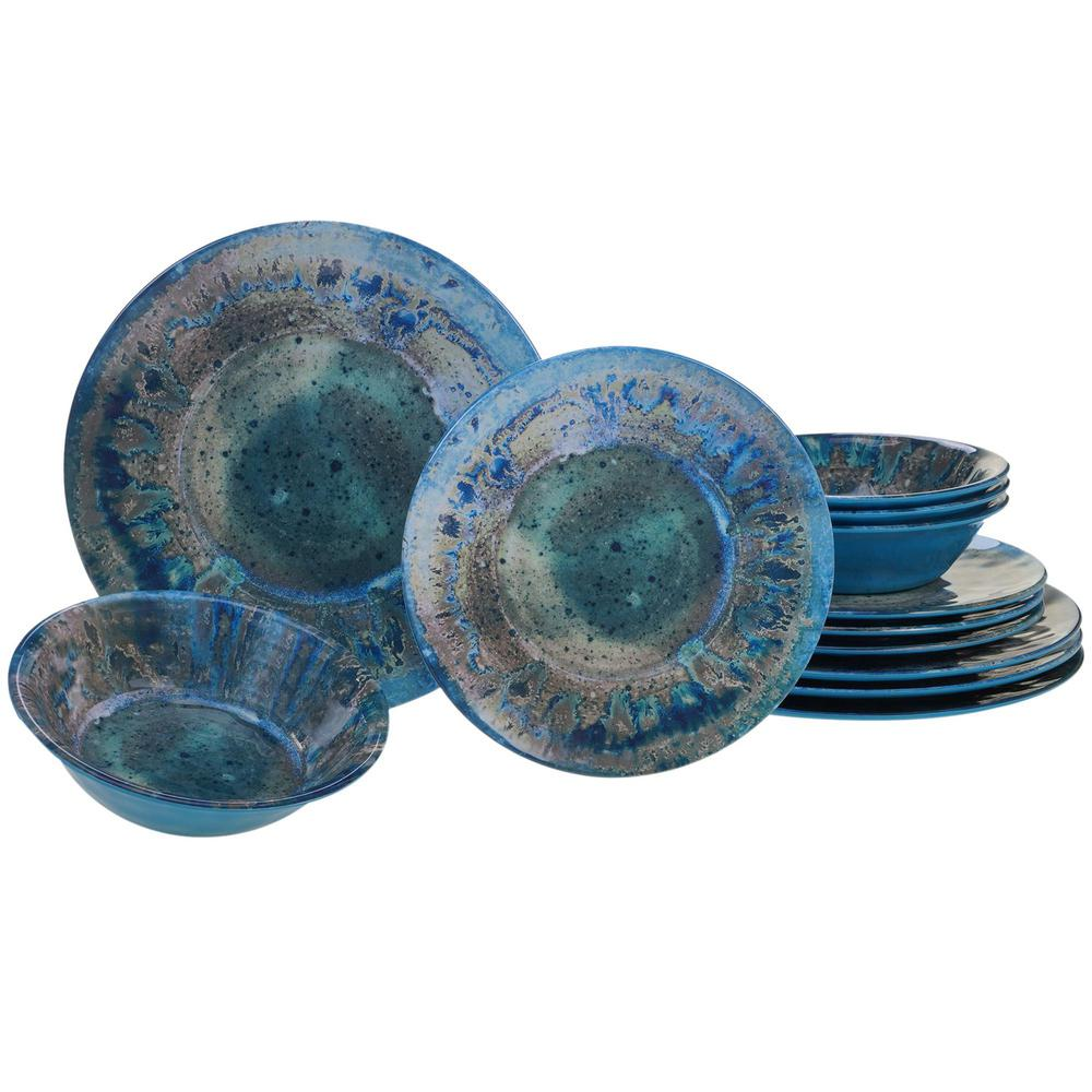 Radiance 12-Piece Casual Teal Melamine Outdoor Dinnerware Set (Service for 4)