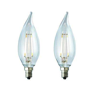 25W Equivalent Soft White CA10 Clear Lens Nostalgic Candelabra Flame Tip Dimmable LED Light Bulb (2-Pack)