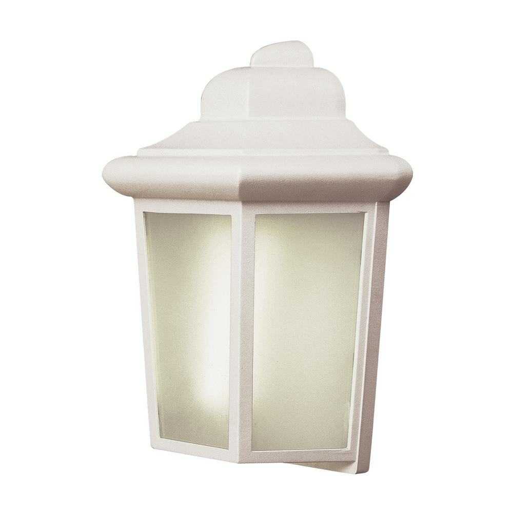 Rendell II 1-Light White Outdoor Wall Mount Lantern with Frosted Glass