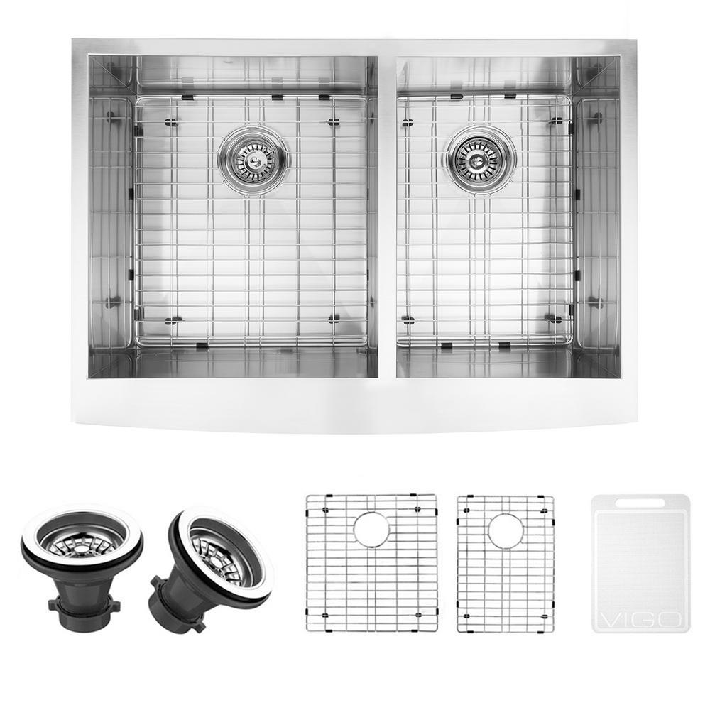 VIGO Undermount Farmhouse Apron Front Stainless Steel 33 in. Double Bowl Kitchen Sink with Grid and Strainer