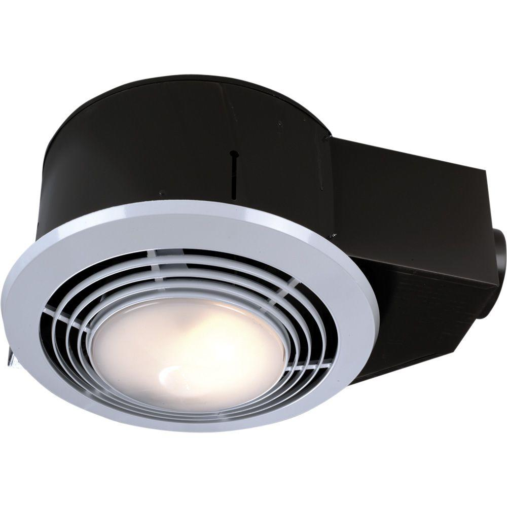 Broan Nutone 100 Cfm Ceiling Bathroom Exhaust Fan With Light And Heater Qt9093wh The Home Depot