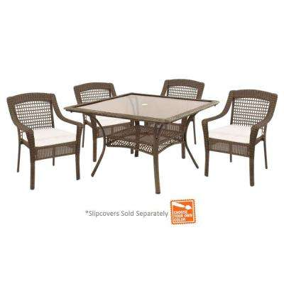 Spring Haven Grey 5-Piece All-Weather Wicker Patio Dinning Set with Cushion Insert (Slipcovers Sold Separately)