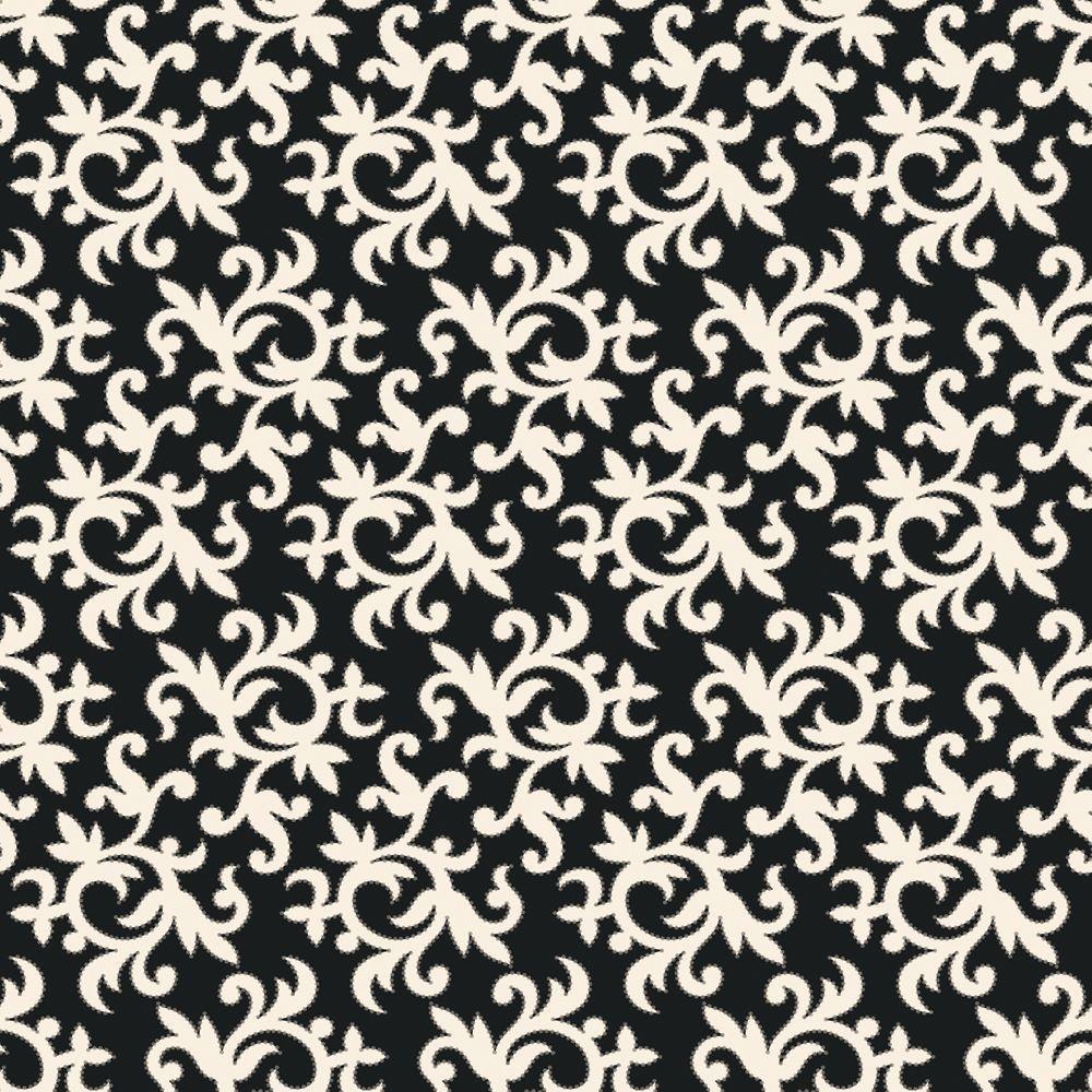 The Wallpaper Company 56 sq. ft. Black and White All-Over Multi Swirl Print Wallpaper