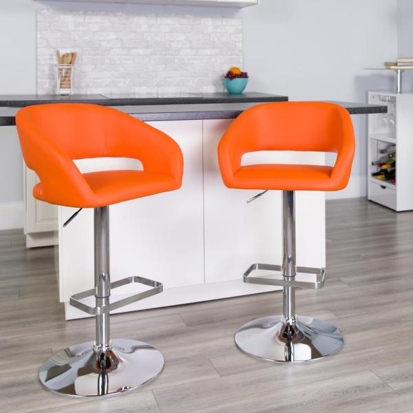 Flash Furniture 32 in. Adjustable Height Orange Cushioned Bar Stool CH122070ORG