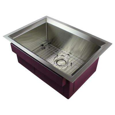 Studio Undermount Stainless Steel 26 in. Single Bowl Kitchen Sink in Brushed Finish