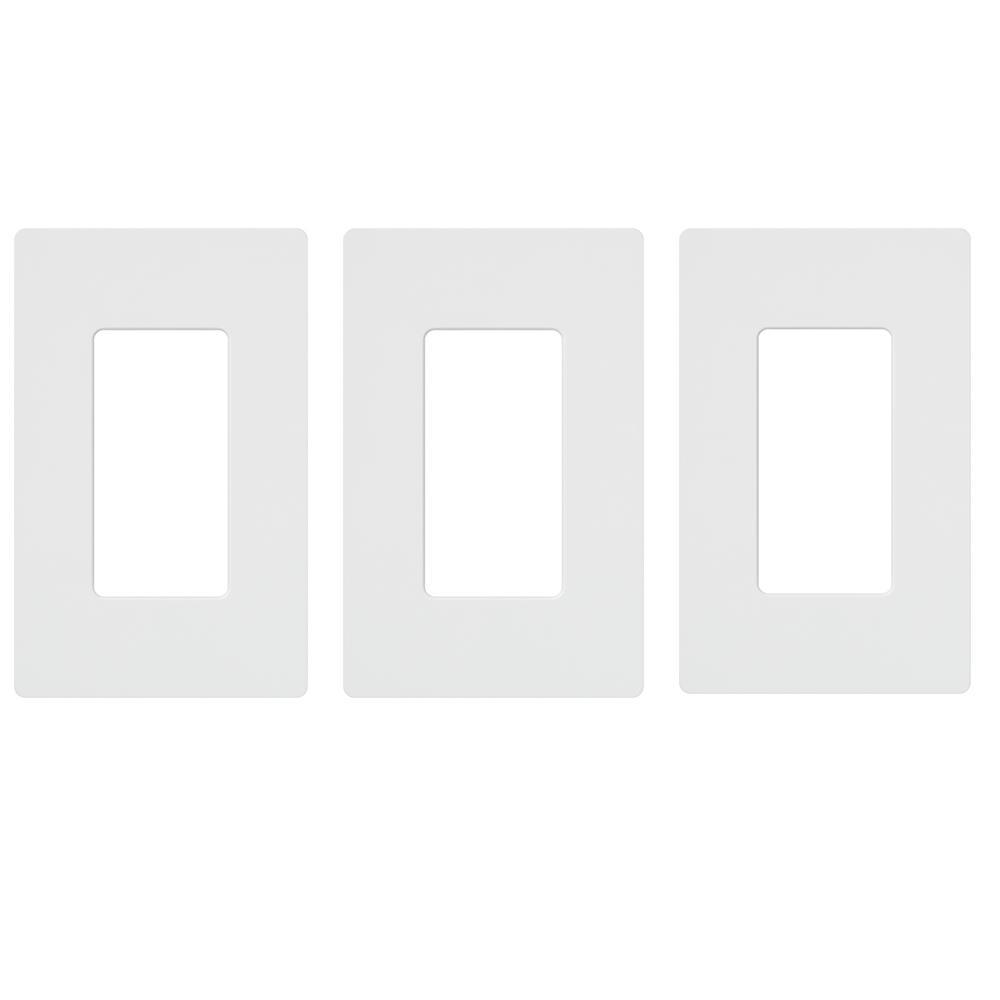 Claro 1 Gang Decorator/Rocker Wallplate, White (3-Pack)