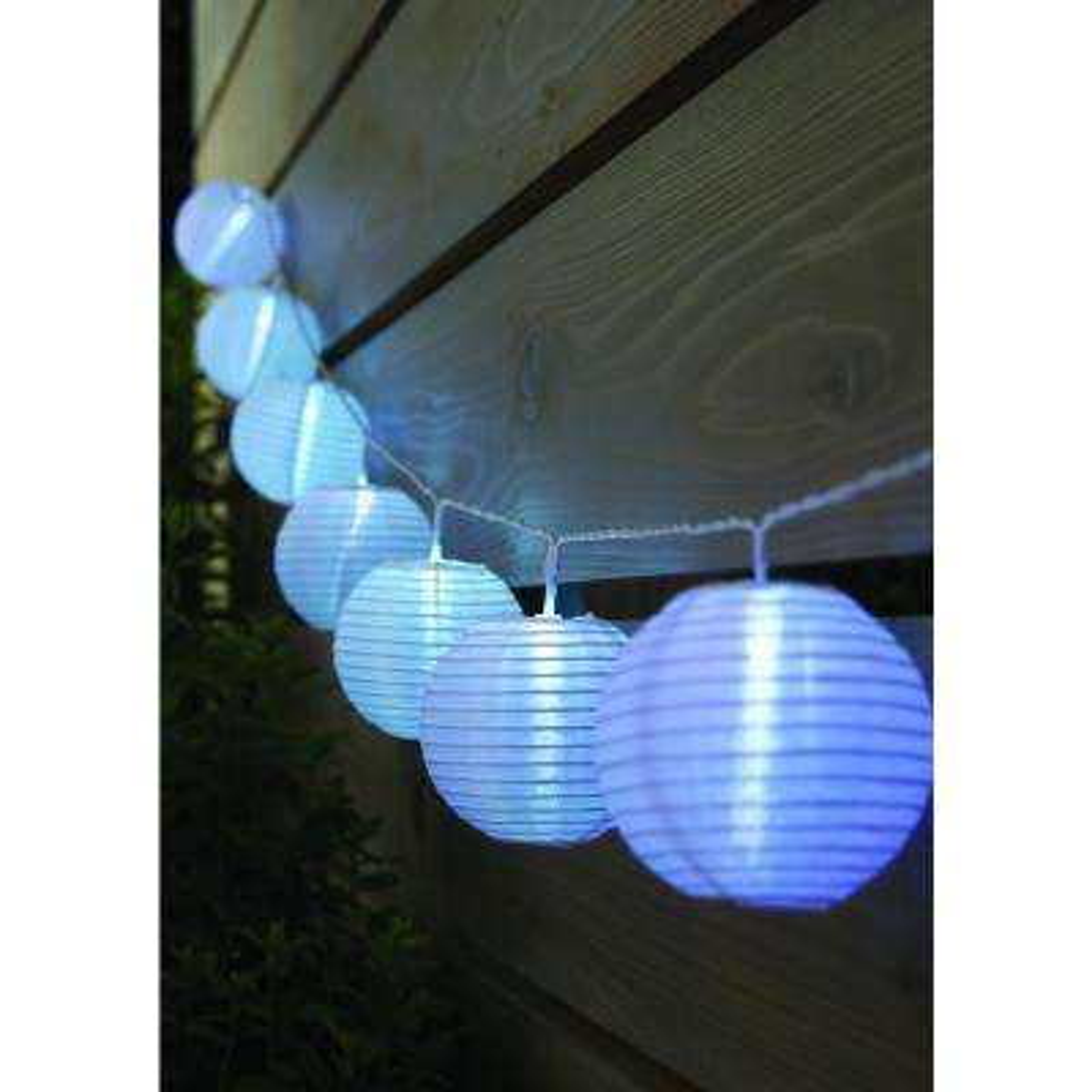 Outdoor/Indoor 7 ft. 10-Light Battery Powered Paper Lantern Mini Bulb LED String Light (Multi-Color)