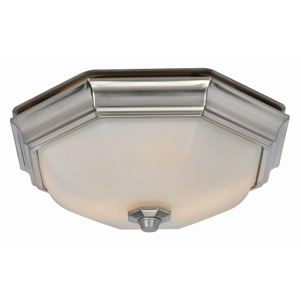 Hunter Huntley Decorative Brushed Nickel Medium Room Size 80 Cfm 2 Sone Ceiling Bathroom Exhaust Fan With Led Light
