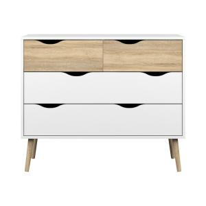 Diana 4-Drawer White/Oak Structure Chest