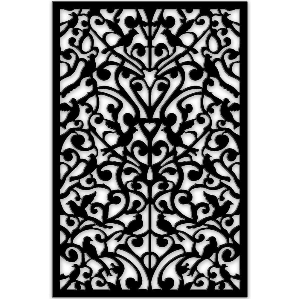 c9f487e94 Acurio Latticeworks Ginger Dove 32 in. x 4 ft. Black Vinyl Decorative  Screen Panel
