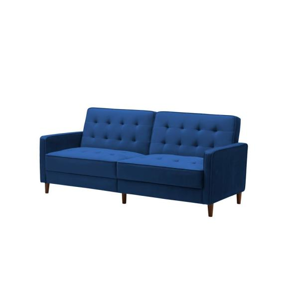Lucky One 34 In H X 78 In W Blue Modern Velvet Upholstered Sofa Bed Cyf 0768 Bu The Home Depot