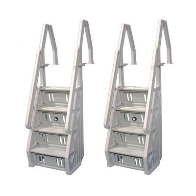 Deluxe In Step 46 in. to 60 in. White Above Ground Pool Ladder (2-Pack)